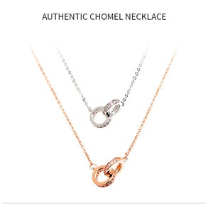 Chomel Necklace Singapore Double Ring Sterling Silver Clavicle Chain Fashion Design Sense of Simple Temperament Classic Jewelry
