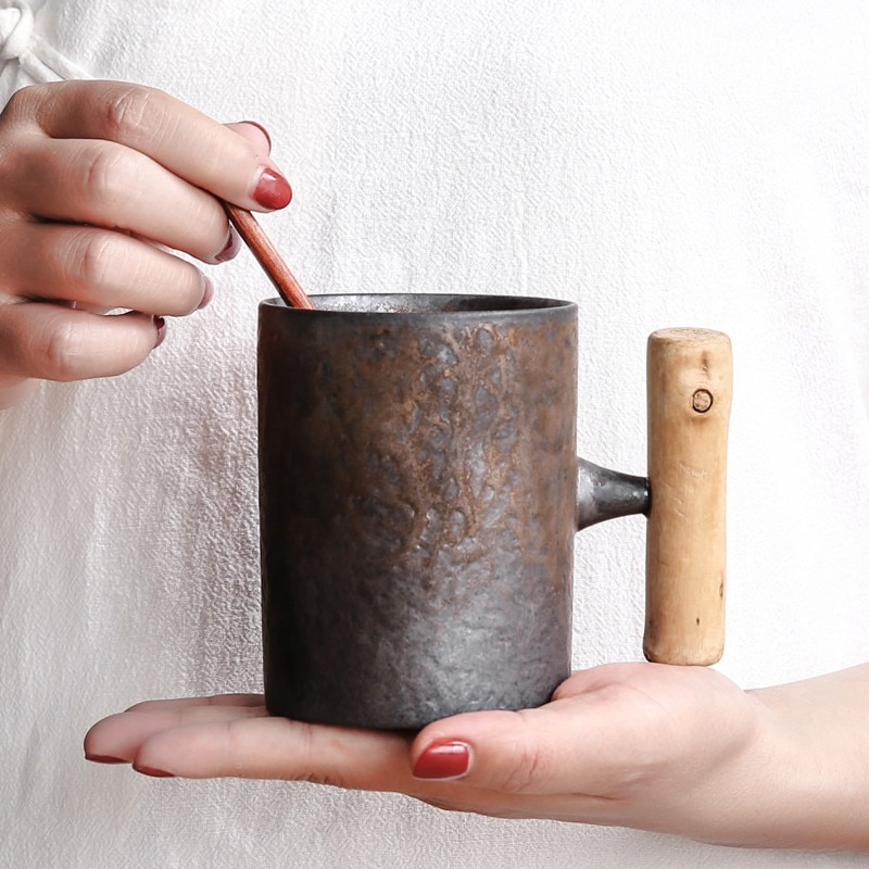Taza de cerámica vintage de estilo japonés, vaso de café con esmalte de óxido para té, leche y cerveza con acabado de madera, recipiente de agua con asa, artículos para beber en el hogar y la oficina