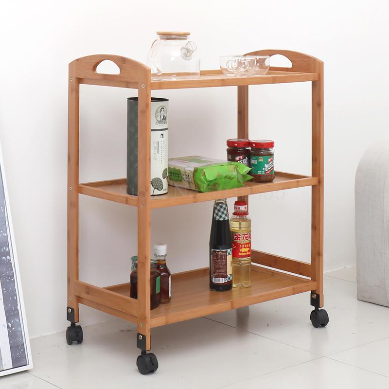 Carrito móvil de tres niveles de coche de madera sólida de coche de madera de hotel de salón de belleza boutique de comedor de cocina para el hogar