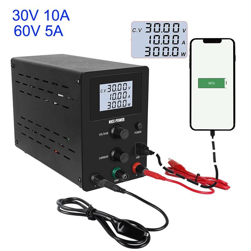 LCD DC Labor 60V 5A Geregelte Netzteil 30V 10A USB Einstellbare Power Liefert Spannung Regler Schalt Bank quelle
