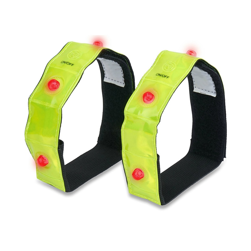 2 Pcs Sports Arm Light Reflective Band Cycling Running LED Belt Night Safety