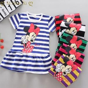 Girls Dress Princess Party Minnie Stripes Dress Children Dress Girl Fashion Knee-Length Outfit Clothes Summer Short Sleeve Dress