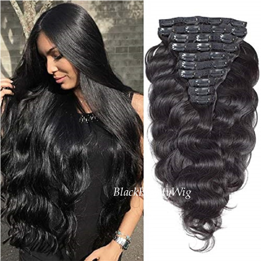Long Body Wave Clip In Human Hair Extension Brazilian Remy Hair Clips In Body Wavy Clip Hair 8-10Pcs 100grams clip in soft wave hair extension 1pc