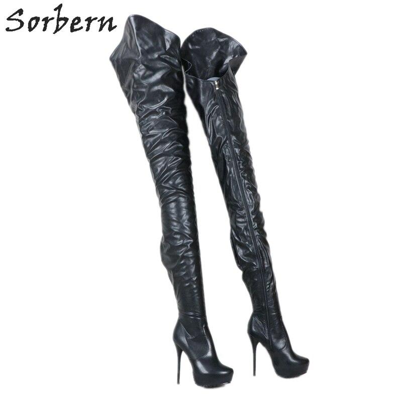 أحذية نسائية طويلة للغاية سوداء غير لامعة مخصصة من Sorbern أحذية نسائية بكعب عالي بنعل غير متناسق للخروج طويلة من الداخل قصيرة أحذية نسائية