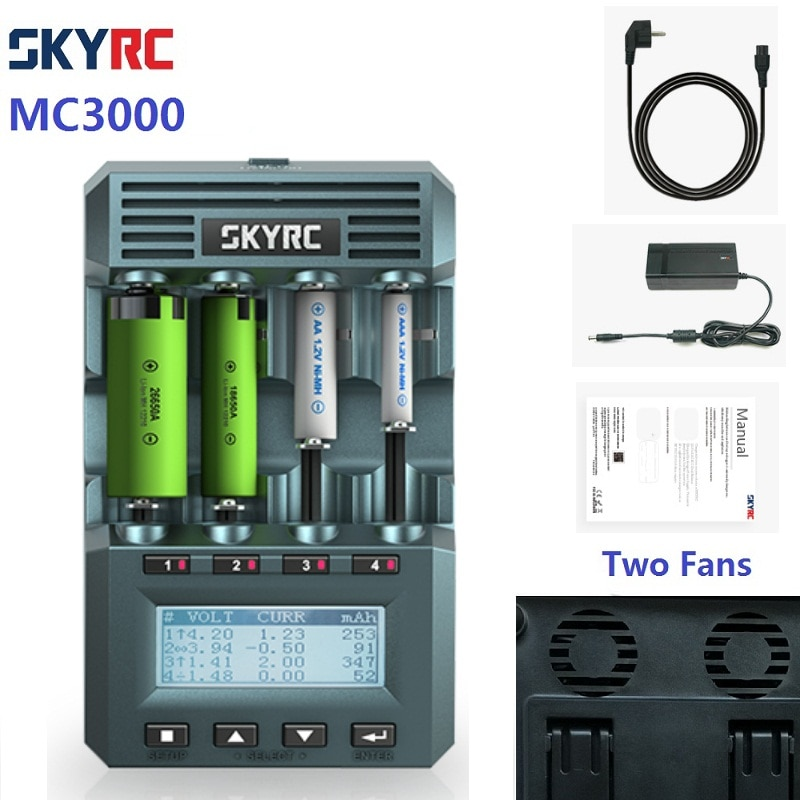 Review Original Genuine SKYRC MC3000 UNIVERSAL BATTERY Charger ANALYZER  Two Fans By IPHONE / ANDROID APP