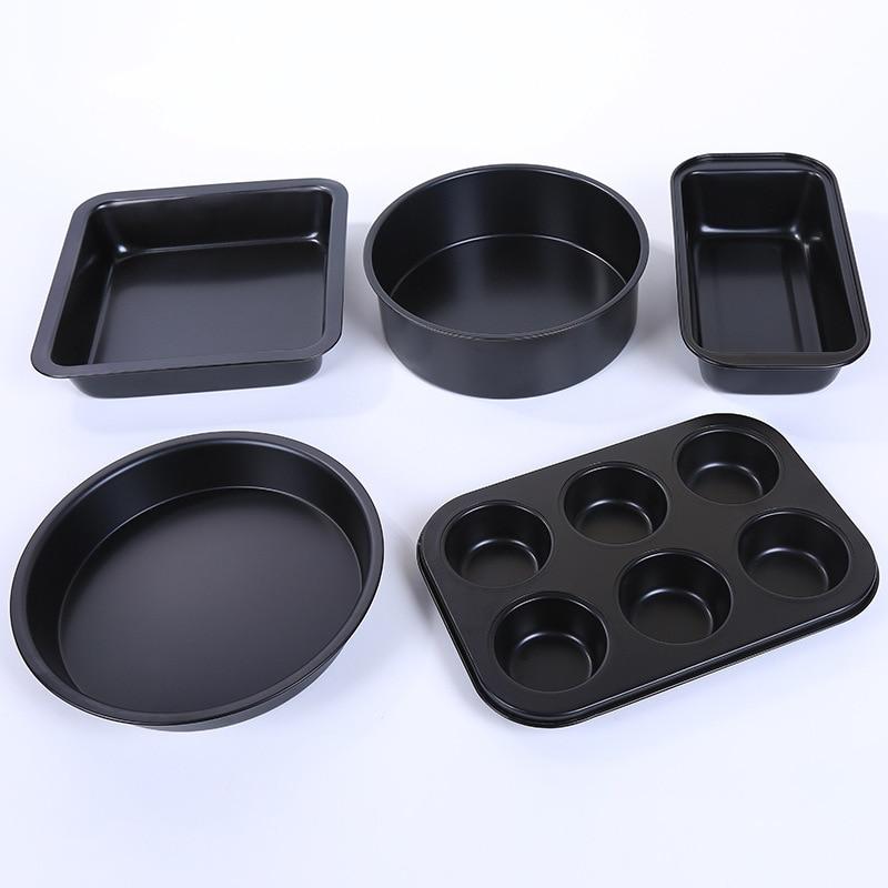 5 piezas de utensilios para hornear, molde de pastel de fondo vivo de 8 pulgadas, seis tazas, plato para Pizza, caja para tostar, conjunto para hornear, moldes de silicona