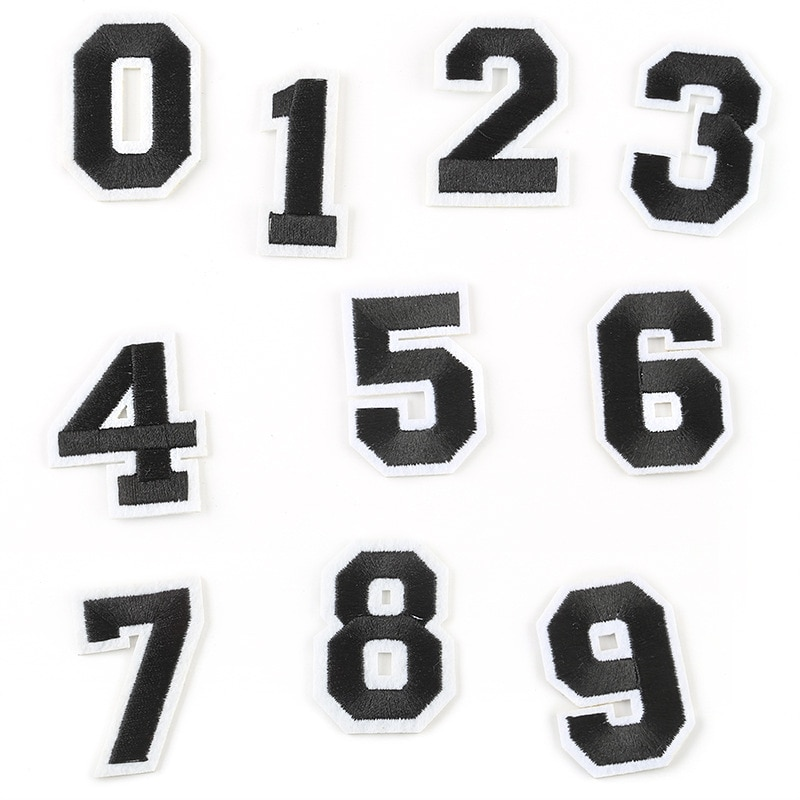 0-9 tela de bordado Digital con texto del alfabeto estampado de bordado accesorios de decoración de ropa