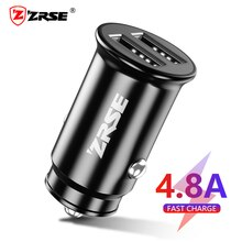 ZRSE Mini USB Car Charger 12W Fast Charging Dual USB Charger for IOS Android Mobile Phone Fast Charg
