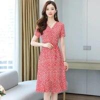 2021 new french retro ruffled floral small fresh waist short sleeve dress woman y2k dress