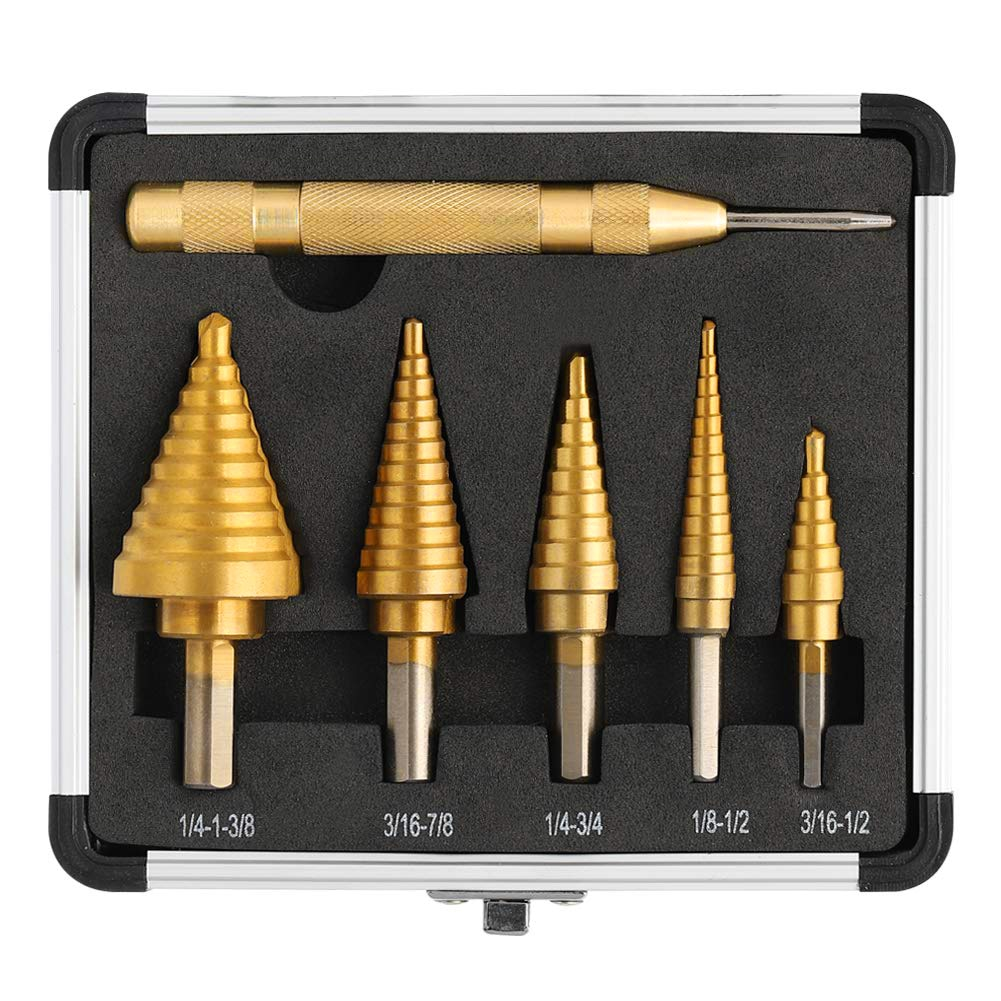 3/5/6pcs HSS Titanium Coated Step Drill Bit Hole Cutter Drilling Power Tools Metal High Speed Steel Wood Hole Cutter Cone Drill