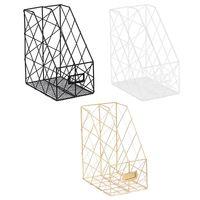 Nordic Iron Grid File Holder Simple Double Layer Desk Shelf Magazine Book Storage Rack Organizer Desktop Office Stationery