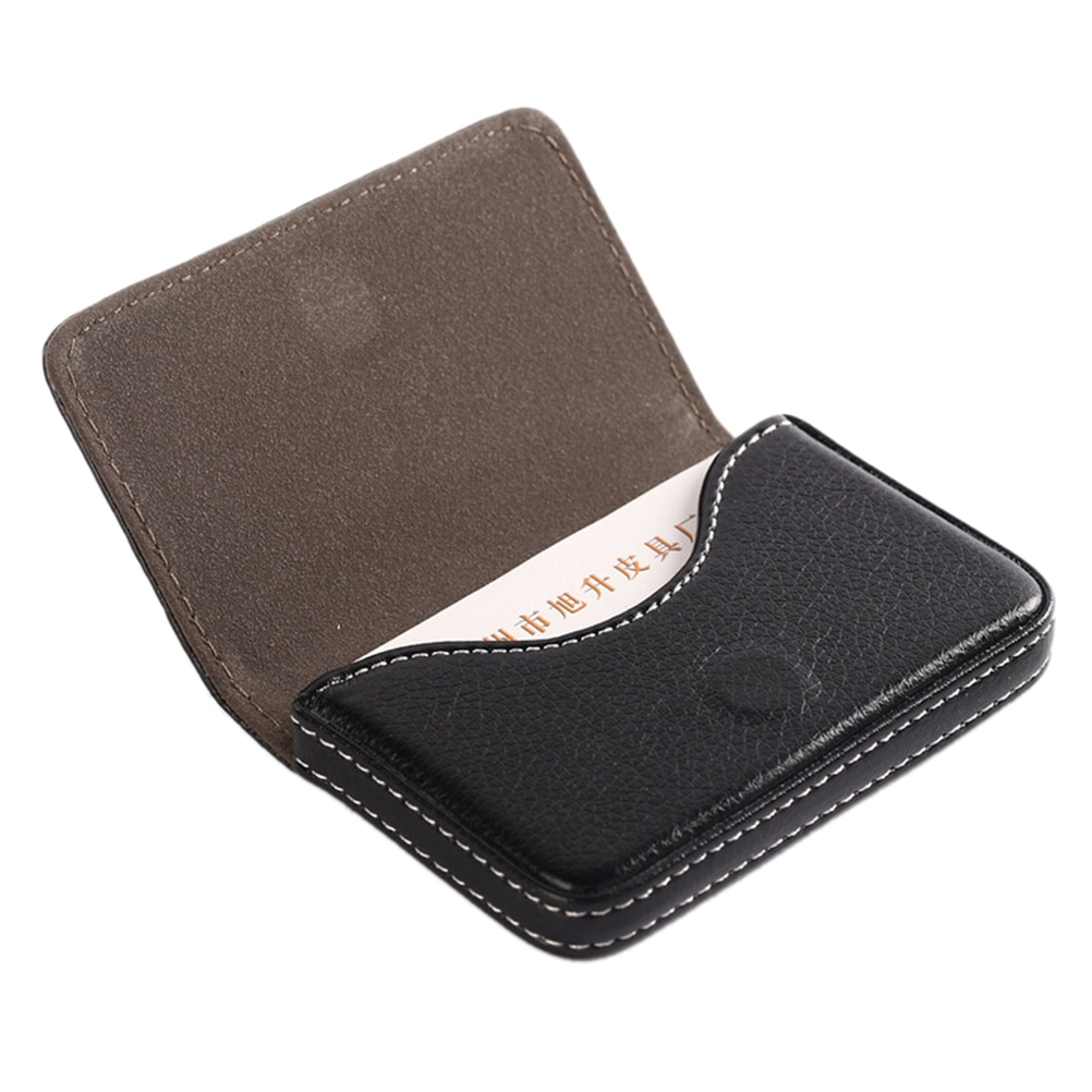 deli business name card box big capacity credit card holder memo pad 1pcs Business Card Holder PU Leather Large Capacity Name Card Box Bank Card ID Card Storage Case