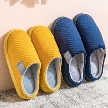 Women Men Corduroy Indoor Home Autumn and Winter Non-slip Cotton Slippers Warm Breathable Wear-resis