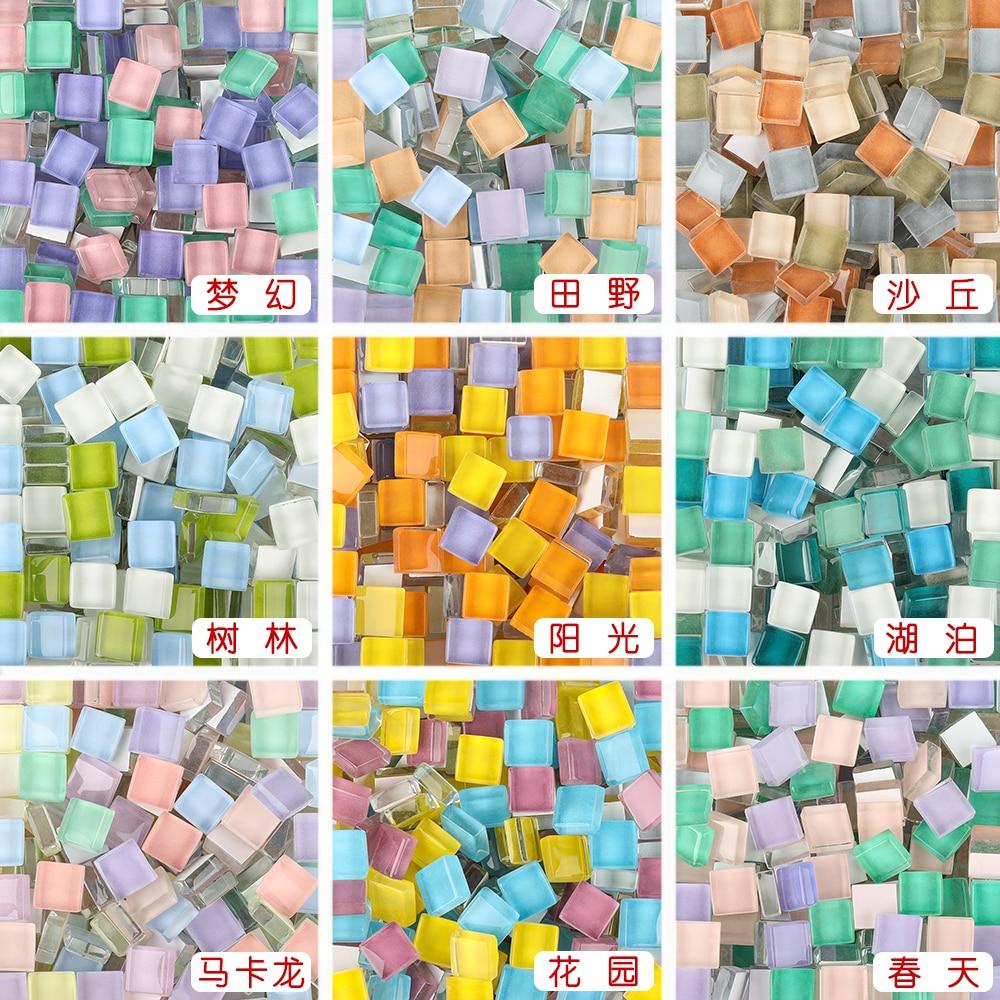 300 Uds. Mosaico de vidrio de colores mezclados, piedras de mosaico, guijarros de vidrio para niños, rompecabezas, artesanía, Material, fabricación de mosaico DIY