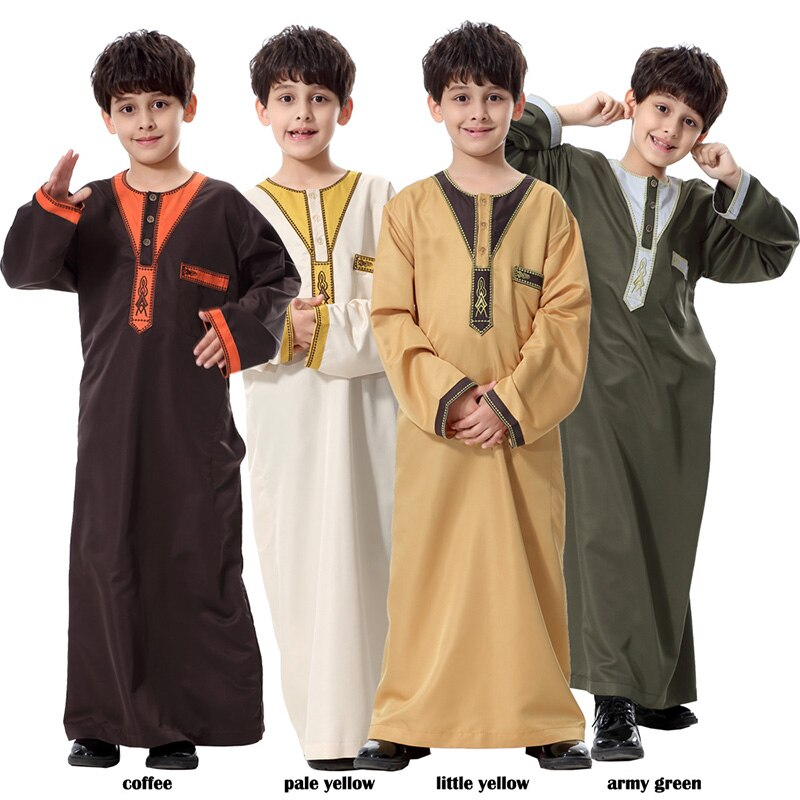 Boy Children Abaya Dubai Kaftan Oman Arabic Qatar Muslim Kids Hijab Robe Caftan Marocain Ramadan Saudi Arabia Islamic Clothing