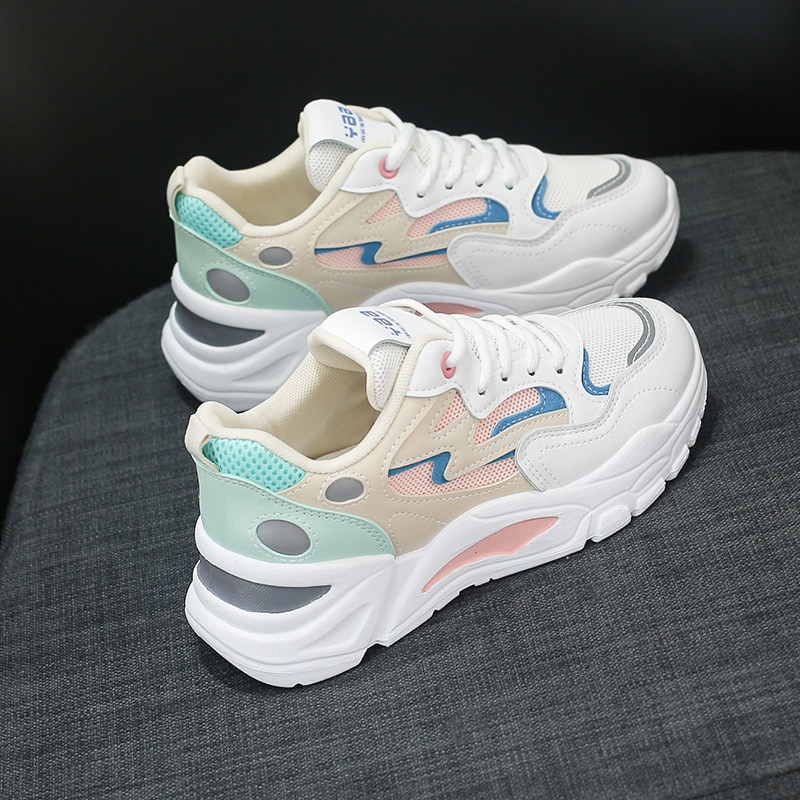 Spring Sneakers Women Thick Bottom Daddy Shoes Platform Round Toe Breathing Leisure Shoes Female Vul