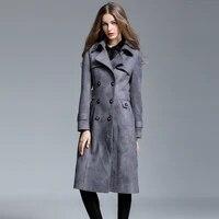 2021 women spring new suede long trench coat warm lapel female over the knee windbreaker long sleeve lady casual deerskin jacket