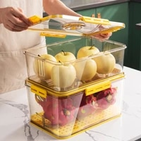 pet refrigerator storage containers timekeeping food fresh keeping storage box with water filter partition kitchen organizer
