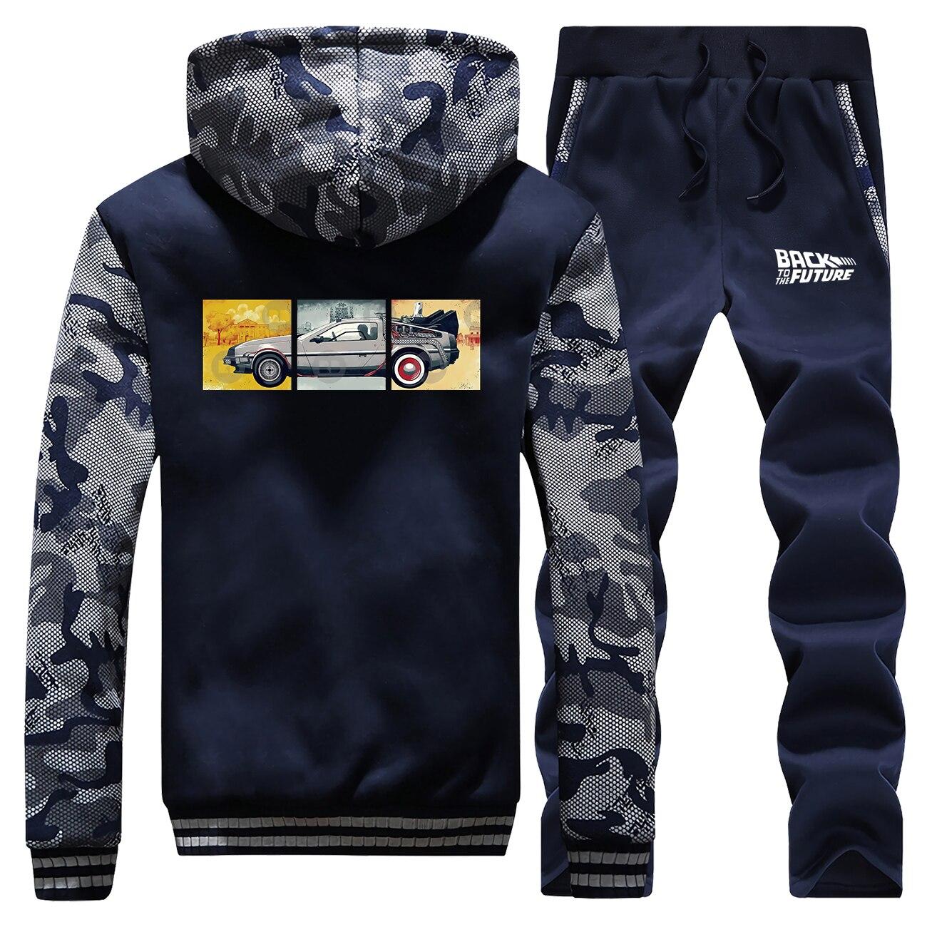 Voltar para o futuro homem jaqueta de inverno + pant 2 pcs define masculino terno quente casaco de lã grossa comouflage streetwear moletom masculino hoodies