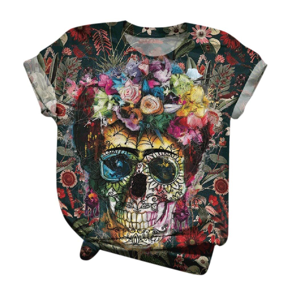 tops women 2021 Plus Size Women Short Sleeve 3D Skull Printed O-Neck Tops Tee T-Shirt Blouse mujer camisetas 10% off for 2 items