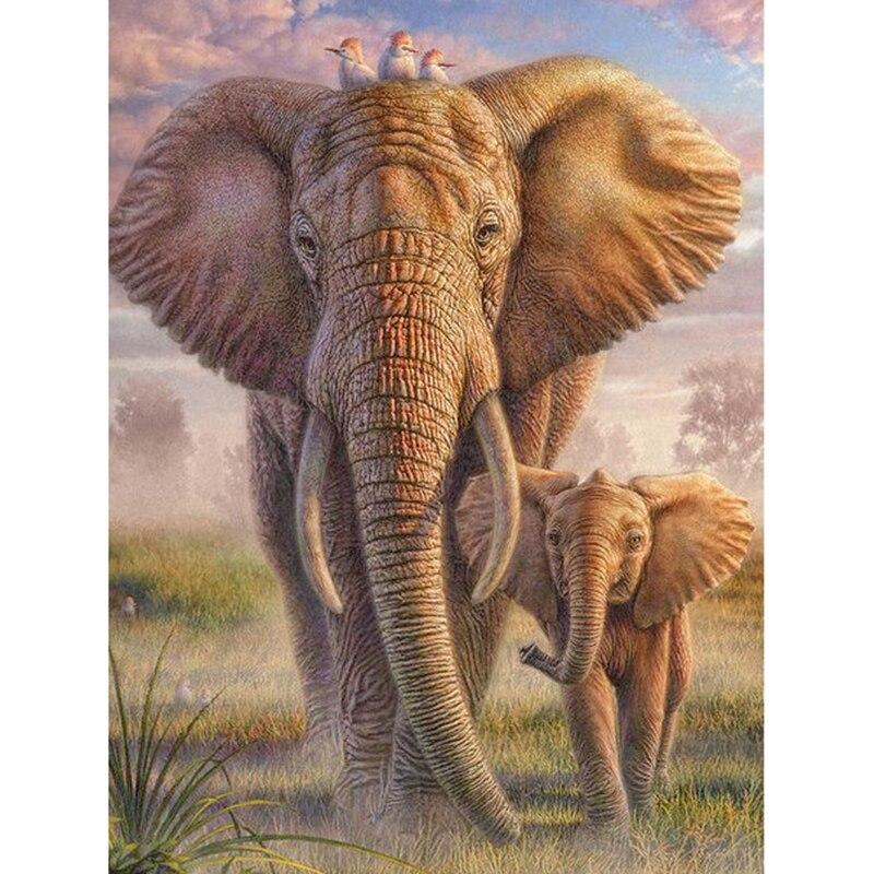"""Pintura de diamante DIY 3D """"elefante y elefante bebé"""" punto de cruz bordado de diamante"""