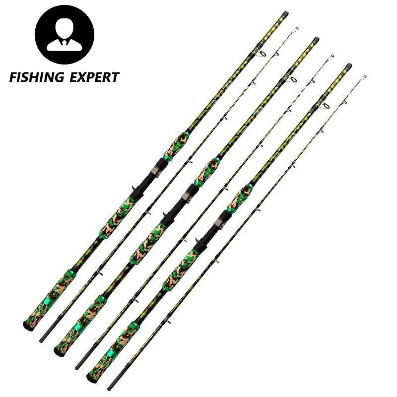 Camouflage 99% High Carbon Casting Rod Power Boat  Lure Fishing Pole Kastking Gear 2.1 2.28 2.4M Telescopic Japan Fishing Tackle