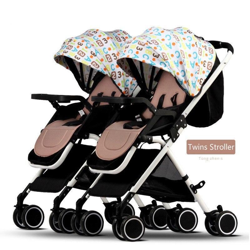 عربة أطفال مزدوجة قابلة للحمل يمكن وضعها على شكل توينز قابلة للطي خفيفة الوزن وقابلة للفصل مزودة بممتص للصدمات BB عربة مزدوجة