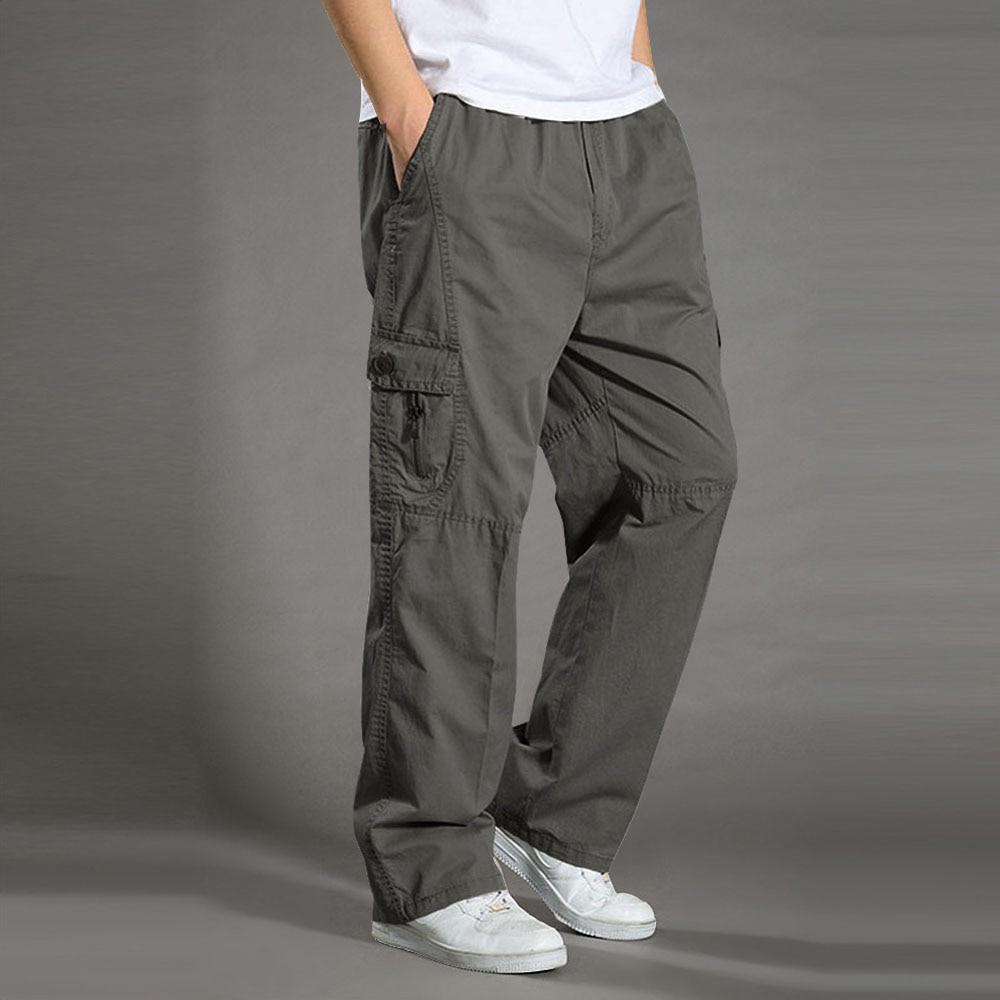 Men's Casual Trousers Cotton Overalls Elastic Waist Full Len Multi-Pocket Plus Fertilizer Men's Clothing Big Size Cargo Pants
