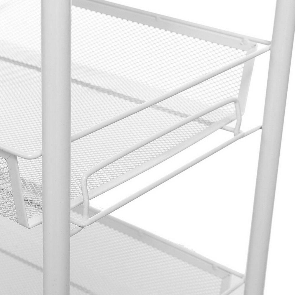 Купить с кэшбэком Ivory White Exquisite Honeycomb Net Four Tiers Storage Cart with Hook for Kitchen Living Room Bathroom