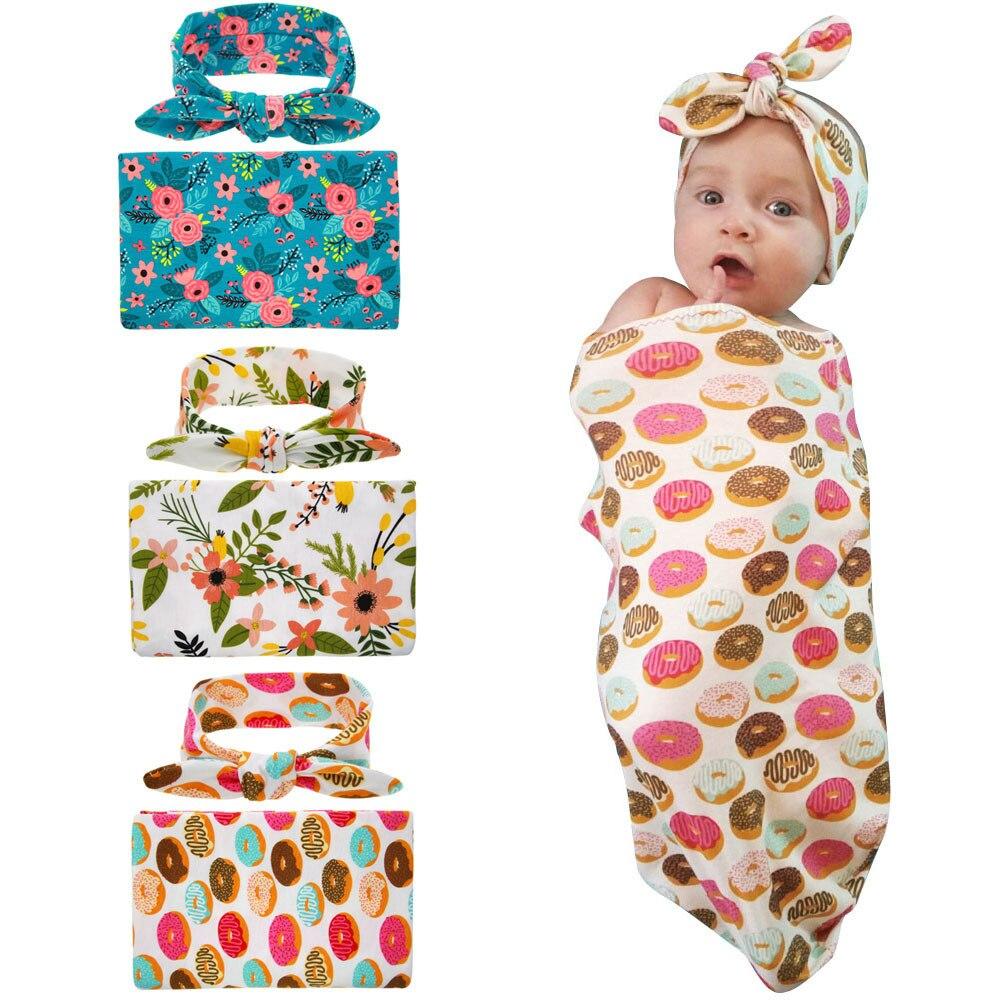 Newborn Floral Print Blanket Unisex Infant Cute Baby Stretch Wrap Super Soft Warm Swaddle Receiving
