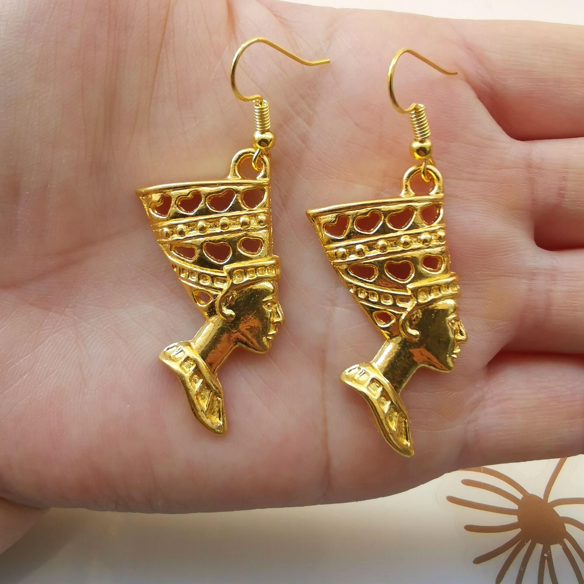 Design brincos de gota de ouro egito egípcio rainha nefertiti balançar brinco para as mulheres presente de natal moda vintage jóias presente