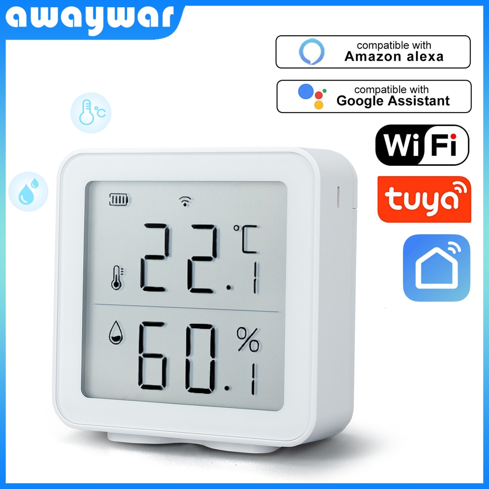 Awaywar Tuya WIFI Temperature and Humidity Sensor Indoor Hygrometer Thermometer Detector Support Alexa Google Home smart life