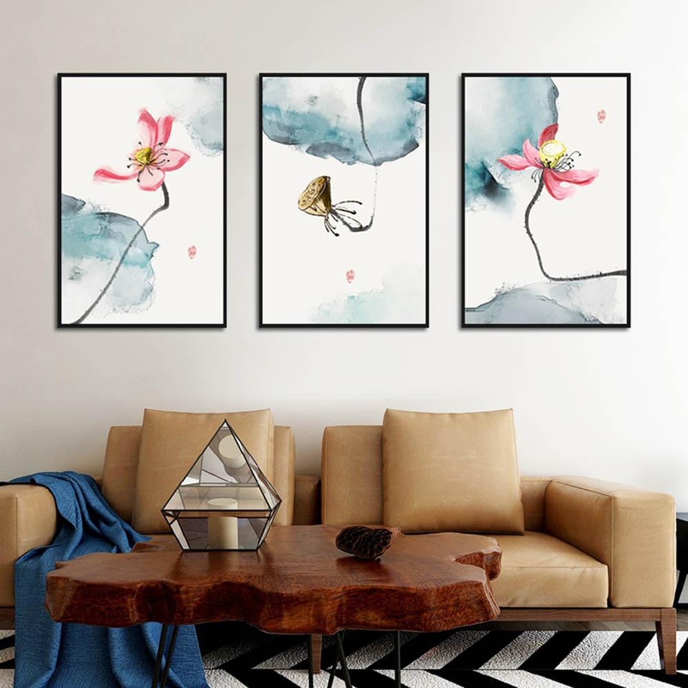 Póster de loto rosa, lienzo elegante de estilo chino, impresión artística de pared de flores, pintura para decoración del hogar para galería, sala de estar, sin marco
