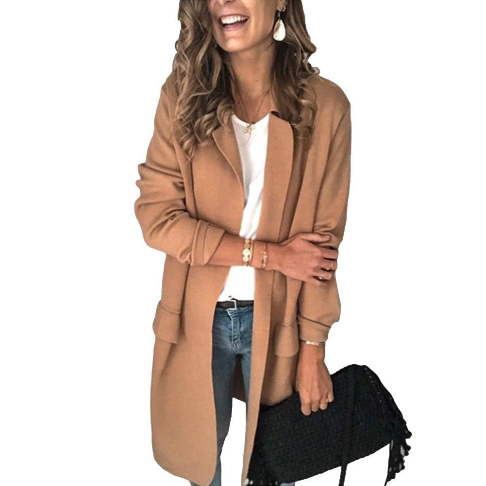 Office Lady Trench Autumn Solid Color Lapel Collar Pockets Decor Blazer Jacket Women's Clothing па