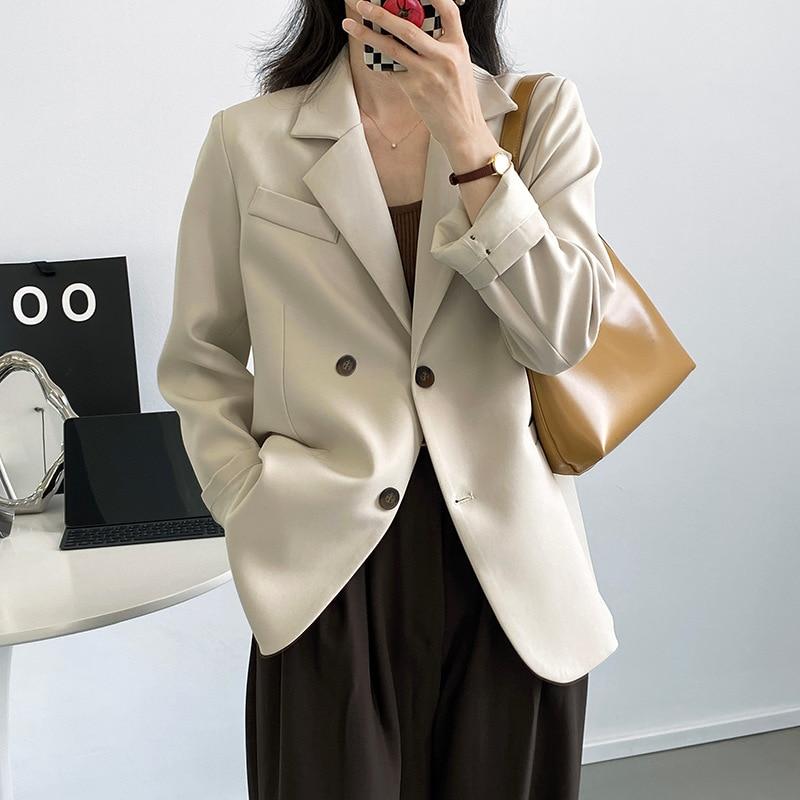 Vintage عودة سبليت سترة الصلبة المرأة مزدوجة الصدر فضفاضة السترة الخريف مكتب السيدات معطف طويل الأكمام أبلى