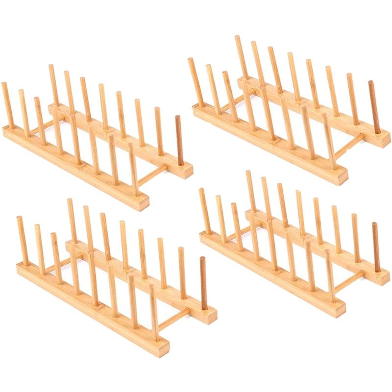 LUDA 4 paquetes de bambú estante de madera para plato estante soporte de la olla tapa titular organizador de armario de cocina para tazón de taza tabla de cortar y más