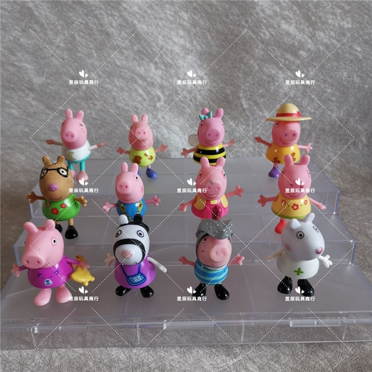 10pcs cute pink Pig Family Anime Toys Full Doll Action Figure Model Pelucia George Children Birthday Gifts