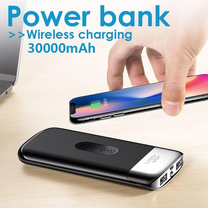 Cargador de batería externa del Banco de energía de 30000mah cargador de teléfono móvil inalámbrico QI para iPhone X XS Max XR samsung S9 S8