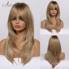 Parrucca da donna bionda marrone scuro di media lunghezza con frangia parrucche sintetiche parrucca per capelli naturali a strati Cosplay resistente al calore
