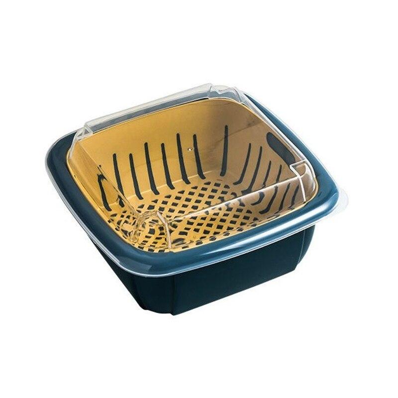 مصفاة مطبخ بلاستيكية ، سعة كبيرة ، تصريف مزدوج ، غطاء سلة عالي الجودة ، أدوات المطبخ المحلية ، EJ50DB