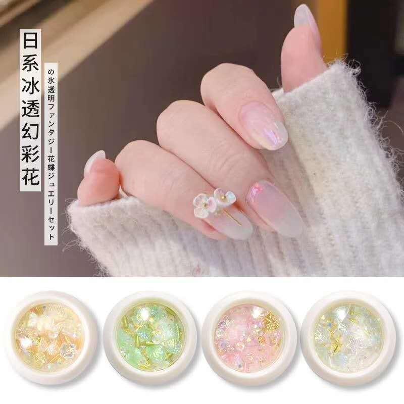 1 коробка 6 стилей дизайн ногтей Бабочка Дизайн 3D цветок полимерные украшения Аврора Стразы для ногтей Аксессуары для маникюра