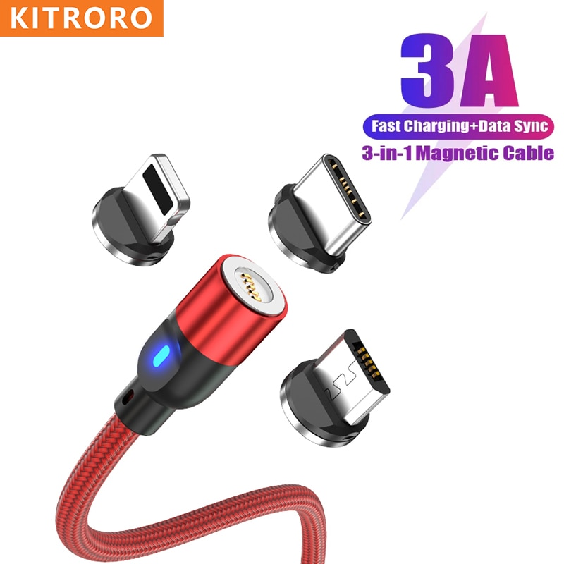 KITRORO LED Magnetic USB Cable Fast Charging Type C Cable Magnet Charger Data Charge Micro USB Cable Mobile Phone Cable USB Cord