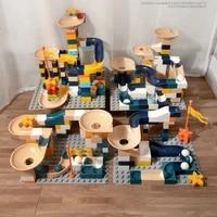 144 pcs marble race run maze ball track big size building blocks funnel slide assemble bricks toys for children girls