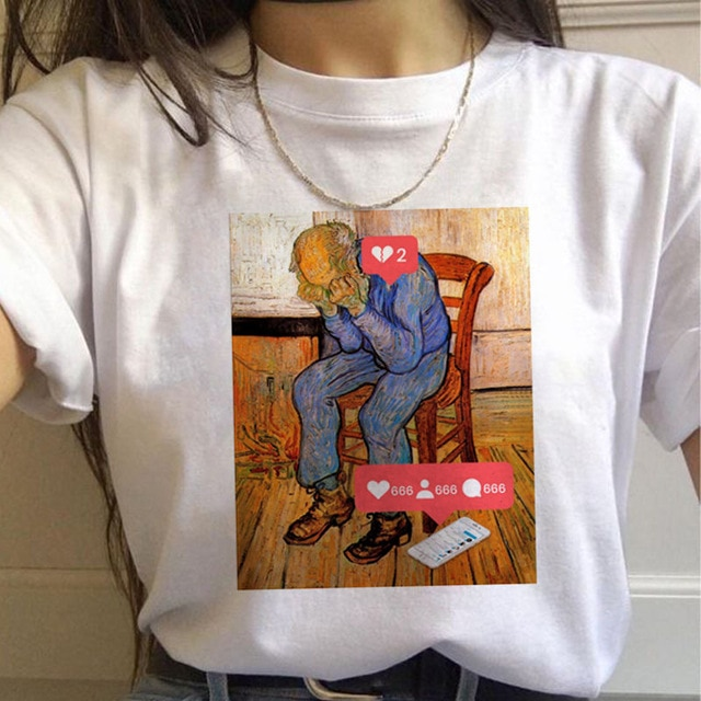 Ukiyo-e vincent van gogh camiseta feminina engraçado 90s vintage ulzzang estético roupas femininas casual grunge estético camiseta superior