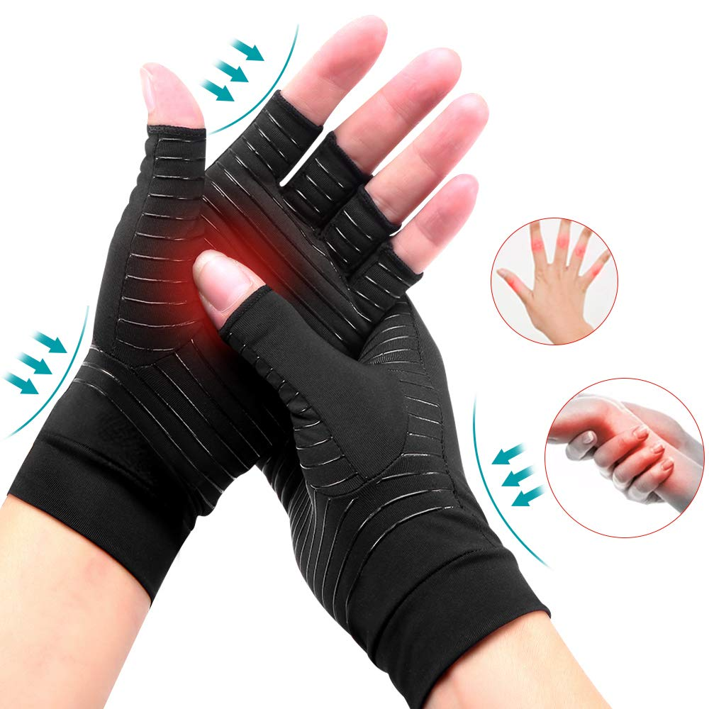 1 Pair Compression Arthritis Gloves Joint Pain Relief Women Men Anti-slip Copper Gloves Therapy Gloves for Carpal Tunnel, Typing
