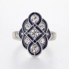 Fdlk Vintage Wit Kristal Ringen Voor Vrouwen Luxe Sieraden Charm Zilver Kleur Ring Engagement Ring Bague Femme Anillos Mujer