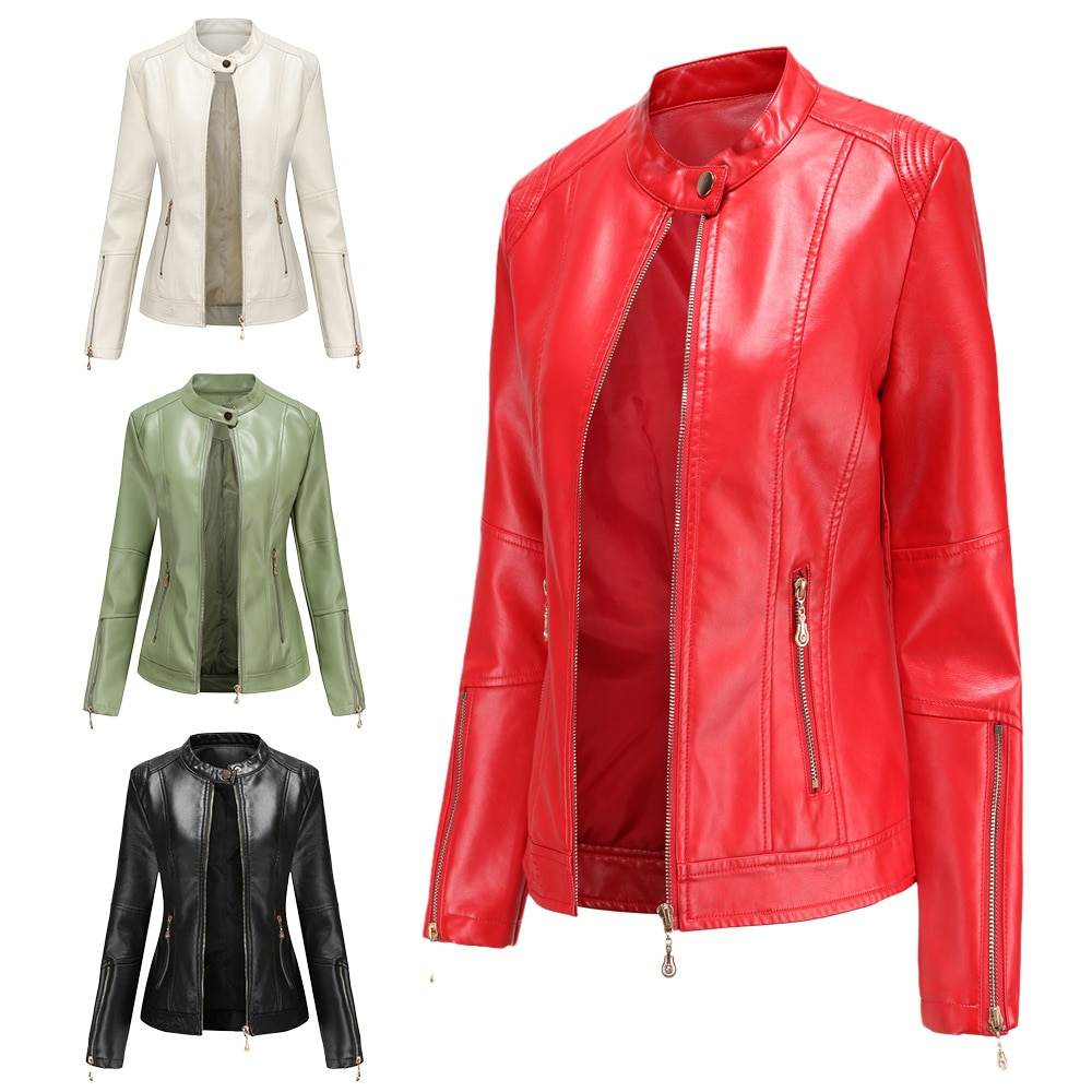 New Fashion Women's Leather Jacket PU Leather Short Jacket Stand Collar Jacket Women's Spring and Autumn Thin Leather Jacket enlarge