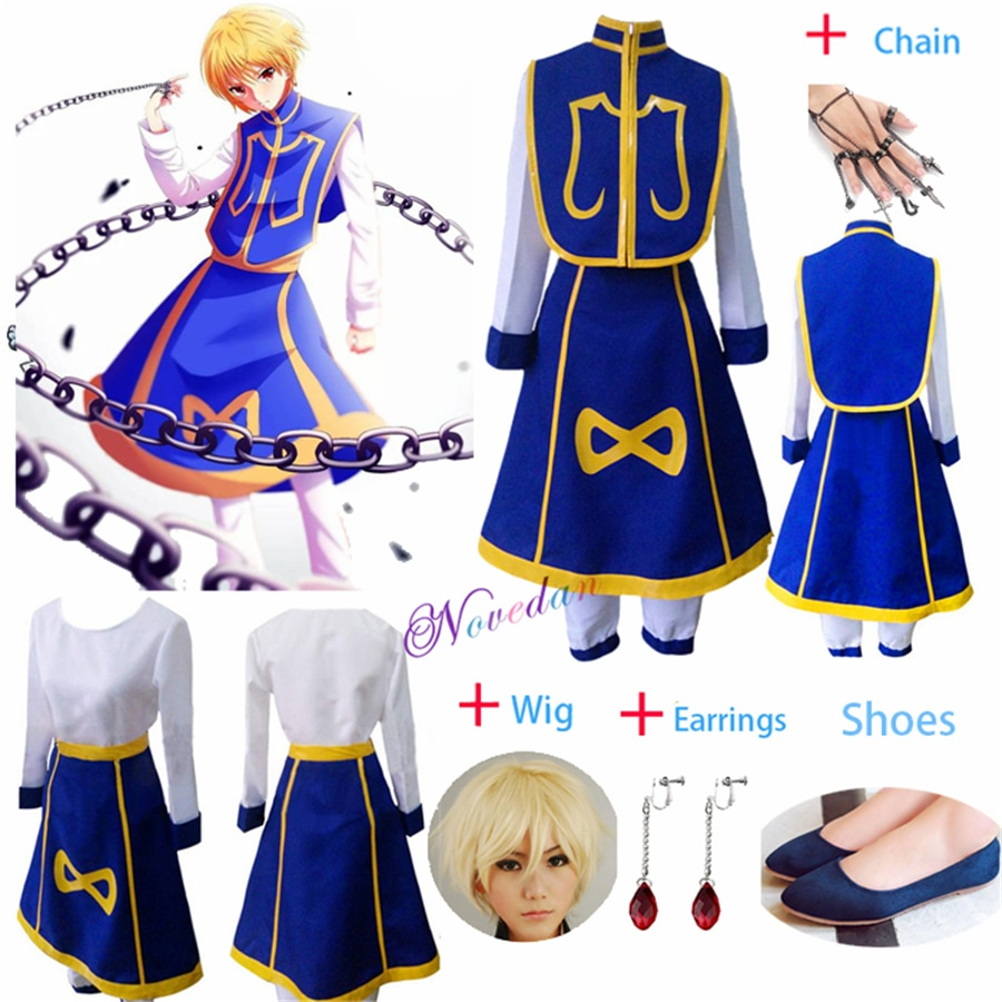 Anime Manga Hunter x Hunter Cosplay Costume Kurapika Chains Ring Earring Shirt Wig Halloween Christmas Party Suit Uniform