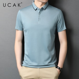 UCAK Brand Classic Solid Color Turn-down Collar Short Sleeve T-Shirts Summer New Streetwear Casual Cotton T Shirt Homme U5519