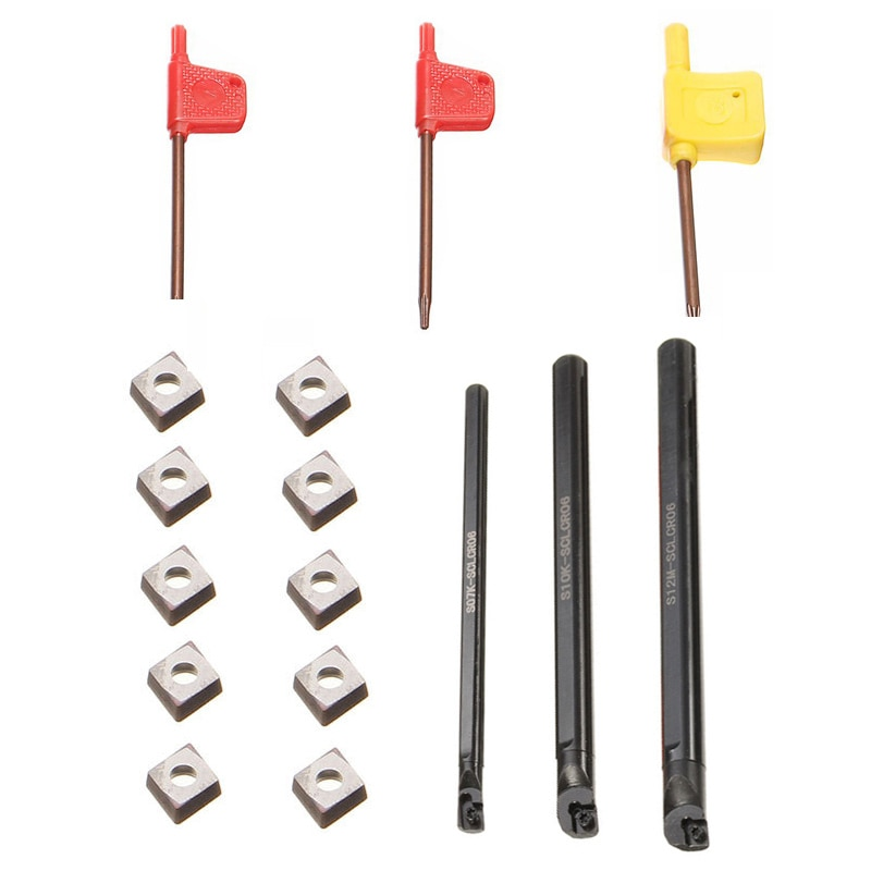 Sclcr06 torno titular ferramenta de torneamento chato barra 7/10/12mm + 10 pçs ccmt0602 inserções 1 pçs S07K-SCLCR06 + 1 pçs S10K-SCLCR06 + 1 pçs s12m
